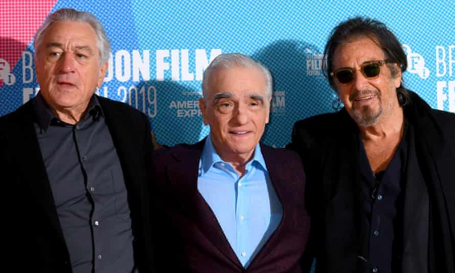 Scorsese, centre, with Robert De Niro, left and Al Pacino at a London film festival.