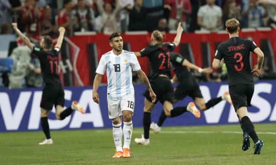 Eduardo Salvio looks dismayed as Croatia celebrate