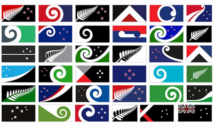Some of the flags proposed to replace the current New Zealand flag by designers that made the longlist of 40.