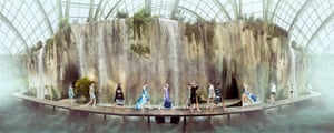 Models walk under the backdrop of a moss-covered waterfall for the ready-to-wear SS18 show. Le Grand Palais, Paris