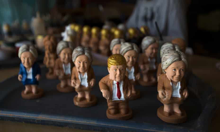 Clay miniatures of Hillary Clinton and Donald Trump at a factory in Torroella de Montgri, Spain.
