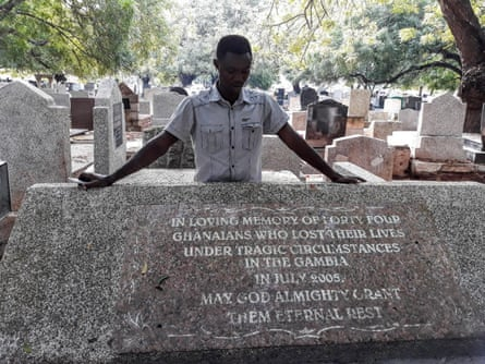 Martin Kyere at Accra cemetery, where six bodies were returned from Gambia.