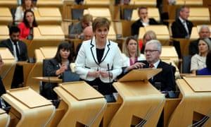 Nicola Sturgeon making her statement in the Scottish parliament.