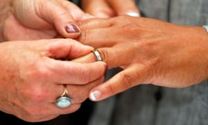 Female couple holding hands and placing ring on finger during their civil partnership ceremony