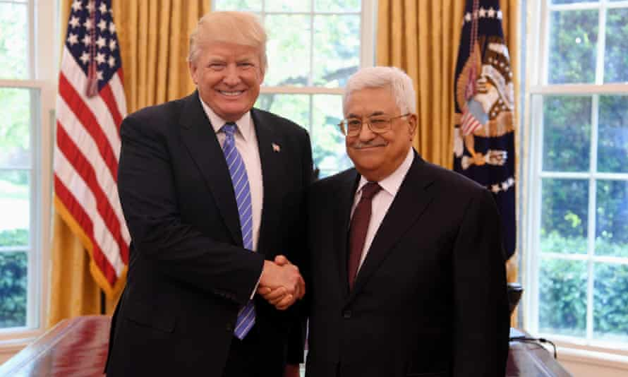 Donald Trump and Mahmoud Abbas at the White House in May 2017.