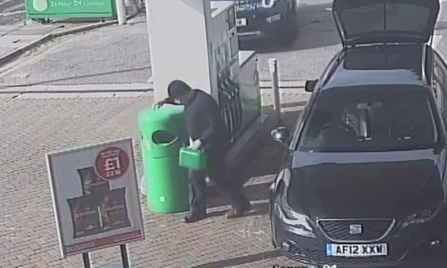 Wayne Couzens filling a jerry can with petrol at a BP station in Whitfield, Dover, Kent.