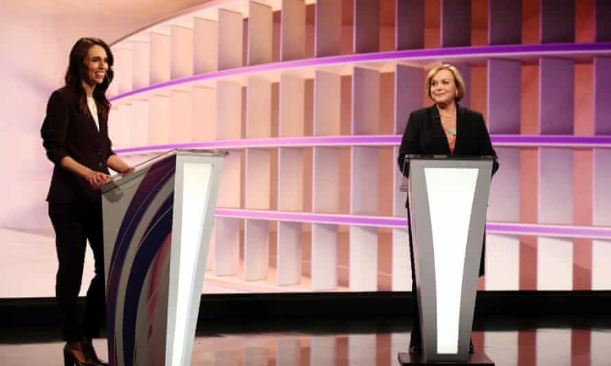 Jacinda Ardern and Judith Collins during the live TV debate.