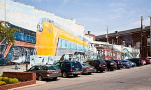 Trains, a mural painted on a building in the Short North neighbourhood of Columbus, Ohio.