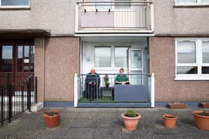 Glasgow, Scotland. James and Frances Welsh take the air during lockdown in the Easterhouse area