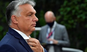 Hungary's Prime Minister Viktor Orbán arrives for the first face-to-face EU summit since the coronavirus outbreak.