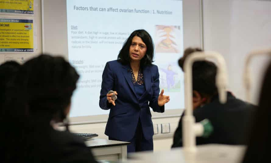 Prof Geeta Nargund delivers her lesson at St Saviour's and St Olave's in south London.