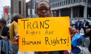 Activists gather at Philadelphia's Love Park for the annual Philly Trans March, earlier this month.