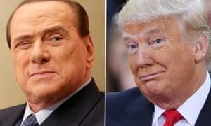 Composite of Silvio Berlusconi and Donald Trump.