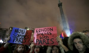 A vigil to pay tribute to the victims of the Paris attacks, at Trafalgar Square in London on Saturday night.