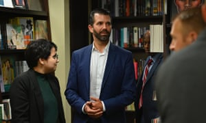 Donald Trump Jr speaking at a signing event for his new book in New York.