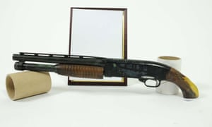A sawn-off Winchester pump action shotgun found at the house of James Arnold. Many of the guns found were described as museum pieces.