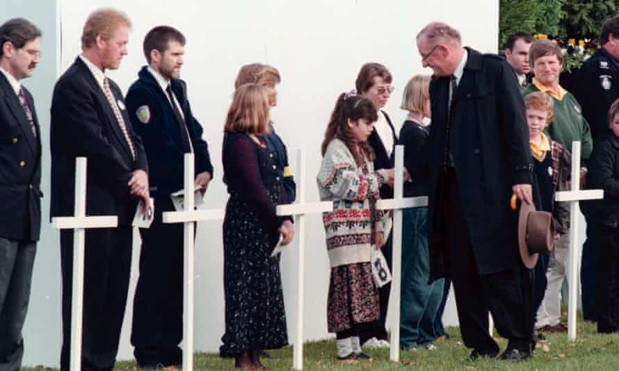 Tim Fischer, then deputy prime minister,  speaks with mourners at a memorial service for Port Arthur massacre victims in 1996