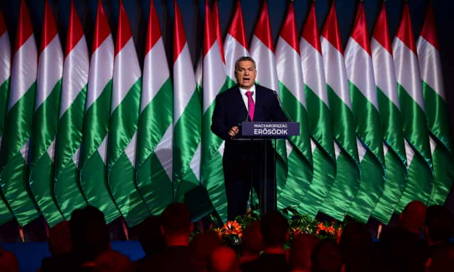 Hungary's prime minister Viktor Orbán delivers his state of the nation address in 2017.