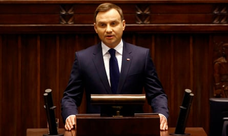 Poland's president Andrzej Duda addresses parliament after being sworn in.