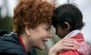 Nicole Kidman as Sue Brierley and Sunny Pawar as the young Saroo in Lion.