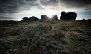Combestone Tor at Sunrise.Dartmoor National Park. Devon. UK.