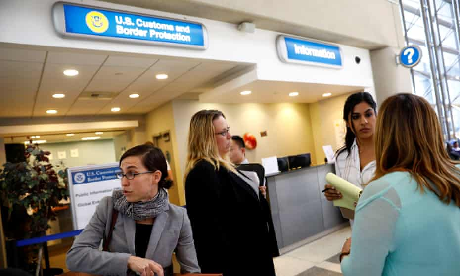 The US customs and border protection office at Los Angeles International Airport in California.
