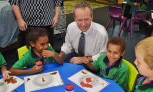 Bill Shorten in a school in Cairns. He claims that a report by the OECD shows the economy would grow 2.8% if spending on education increased.