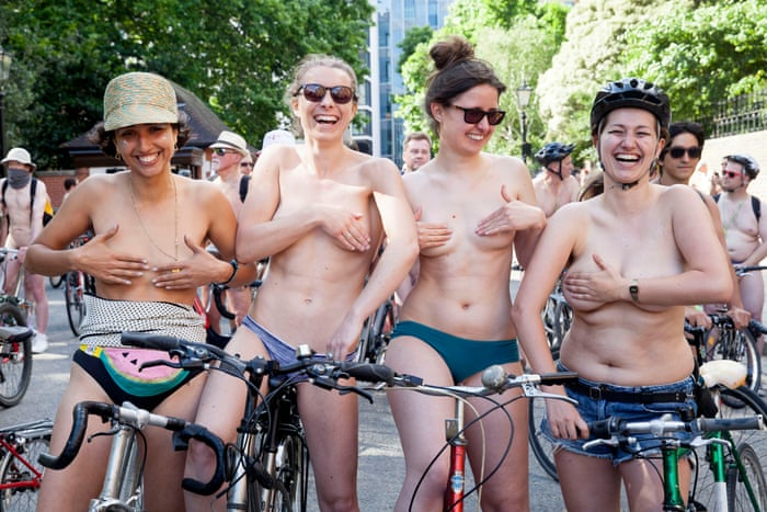 Nude flash mob, girl in the missionary position