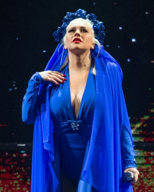 Dressed as the Virgin Mary … Christina Aguilera in Glasgow.