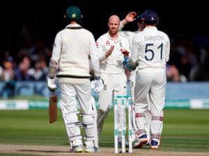 England's Jack Leach celebrates taking the wicket of Australia's Nathan Lyon.