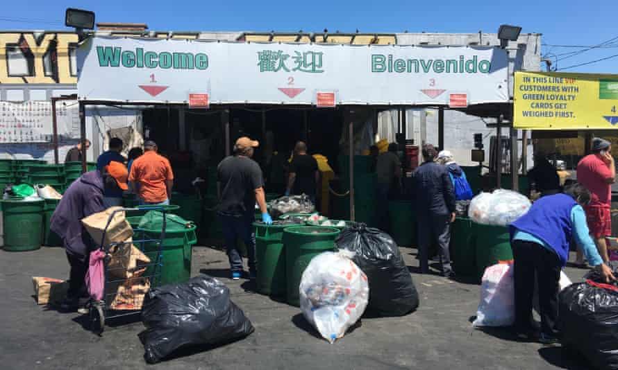 Canners wait in line at One Planet Recycling in San Francisco.