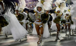 Members of Mocidade Independente de Padre Miguel perform during carnival.