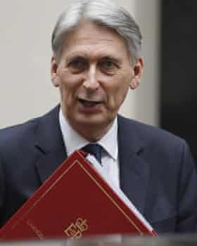 Philip Hammond holding red box as chancellor