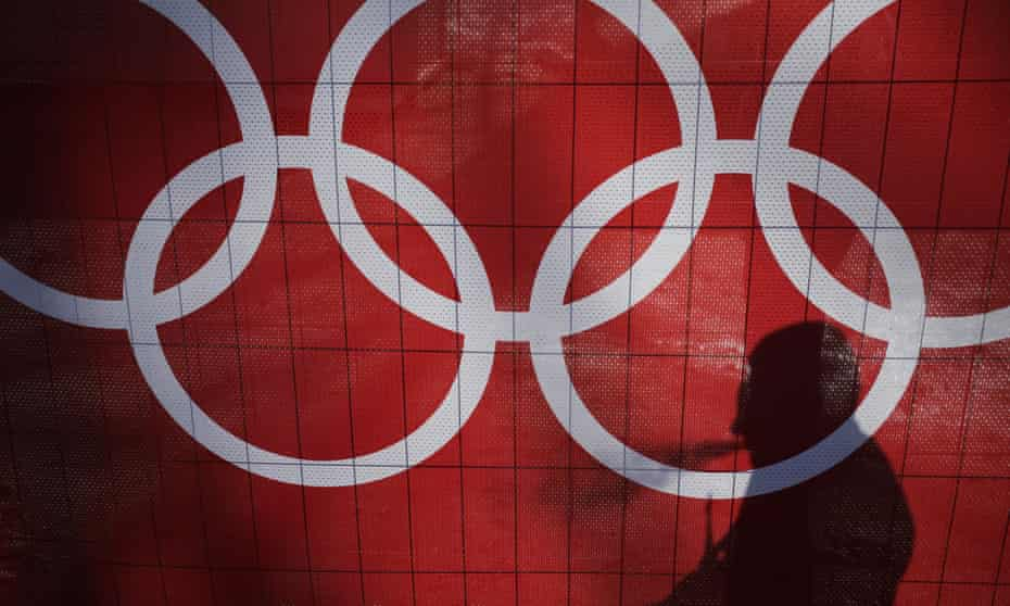 A banner showing the Olympic rings