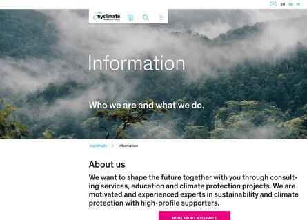 Screengrab of MyClimate website