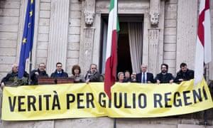 Protesters hold banner reading 'Verità per Giulio Regeni'