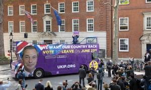 Nigel Farage launching the Ukip EU referendum campaign bus.