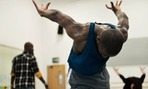 Aaron Chaplin rehearsing The Rite of Spring by Phoenix Dance Theatre.