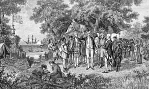 An 1886 wood engraving of Captain Cook proclaiming NSW a British possession