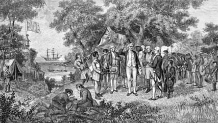 A 1886 picture depicting Captain Cook 1770 claiming of Botany Bay.
