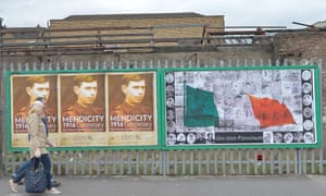 Posters and wall paintings in Dublin, commemorating the Easter uprising