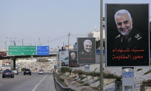 Portraits of the Iranian military commander Qassem Suleimani, killed in a US airstrike, line the main road leading to the airport in the Lebanese capital Beirut.