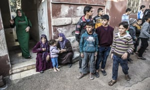 Women and children in Idlib, Syria, earlier this month