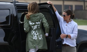 Carefree message … Melania Trump visits migrant children on the US-Mexico border.