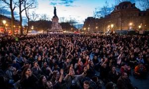 A general assembly sit-in on Place de la Republique, to protest against the labor law reform bill in Paris, France, 10 April 2016.