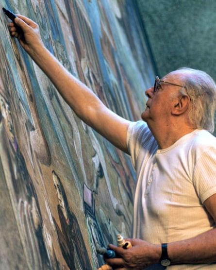 Dario Fo painting the stage set for Lu Santo Jullàre Françesco, at the Spoleto festival