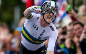 Rohan Dennis celebrates winning the Road World Championships men's individual time trial.