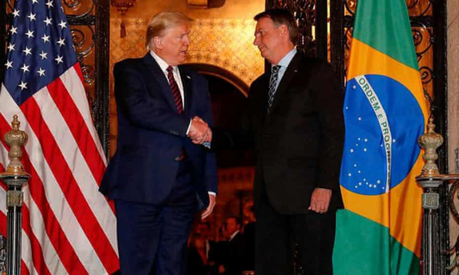 Donald Trump and Jair Bolsonaro at Trump's Mar-a-Lago residency, Florida.