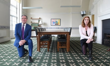 Keir Starmer and Angela Rayner take the knee in support of Black Lives Matter, in the wake of the killing of George Floyd in the US.