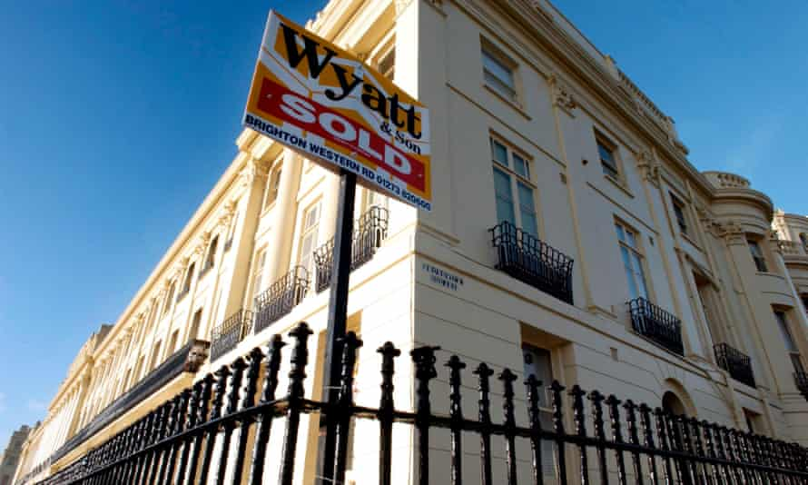 A house sold sign on a period home in Brunswick Terrace, Hove, East Sussex